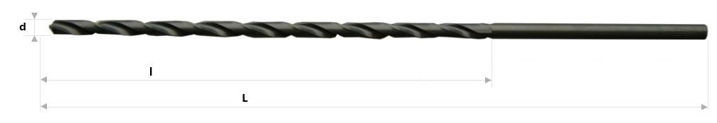 AB Grąžtai - Labai ilgi spiraliniai grąžtai DIN 1869