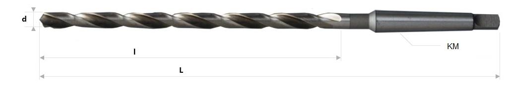 AB Grąžtai - Pailginti spiraliniai grąžtai su Morzės kūgio kotu GOST 2092